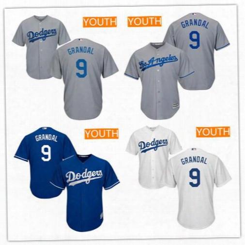 Cheap Kids Baseball Jerseys Youth Los Angeles Dodgers #9 Yasmani Grandal Gray Alternate Stitched Mlb Majestic Cool Base Jersey