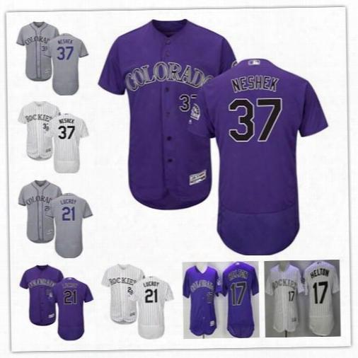 Common Men's Colorado Rockies #21 Jonathan Lucroy 37 Pat Neshek 17 Todd Helton Mlb Jersey Stitch Baseball Jersey Free Shipping