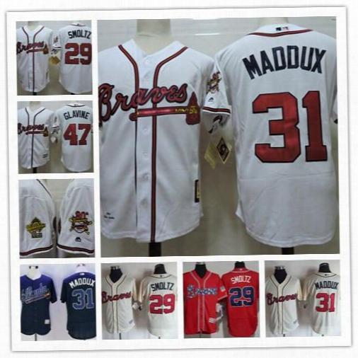 Cheap Mens Atlanta Braves 29 John Smoltz 31 Greg Maddux Retired 47 Tom Glavine White Navy 1995 World Series Retro Embroidered Jerseys