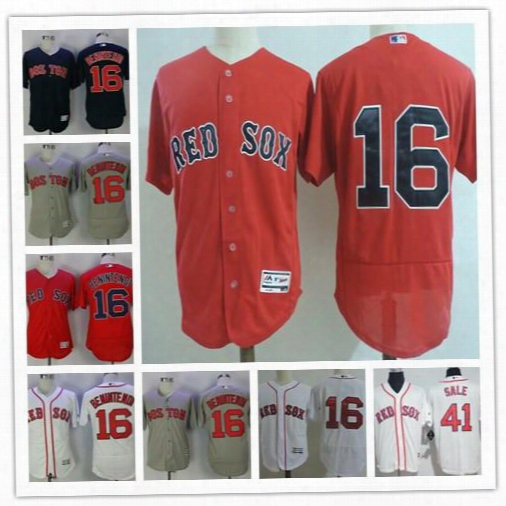 Cheap Mens Boston Red Sox #16 Andrew Benintendi Gray Navyb Lue 41 Chris Sale White Red Stitched Flex Cool Base Baseball Jerseys