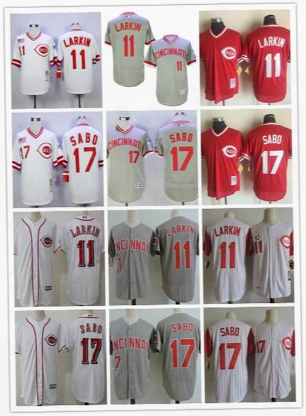 Cheap Mens Cincinnati Reds #11 Barry Larkin 17 Sabo 1990 World Series Champion Retro White Pullover Mesh Bp Embroidered Baseball Jerseys