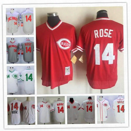 Cheap Mens Cincinnati Reds #14 Pete Rose Red Mesh Bp White Gray Pullover 1976 1969 Throwback Retro Sleeveless Stitched Pinstripe Jerseys