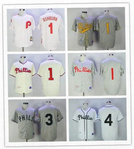 Cheap Mens Philadelphia Phillies #1 Richie Ashburn 3 Chuck Klein 4 Lenny Dykstra Retro White Gray Sewn On Stripe Flannel Jerseys M-3xl