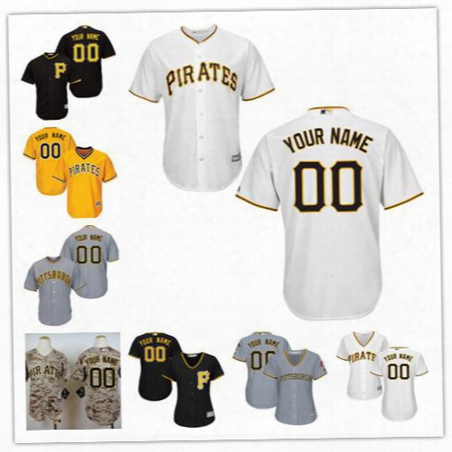 Cheap Mens Womens Youth Pittsburgh Pirates Customized Camo Grey Gold White Sewn On Any Name Any Numbe Cool Base Baseball Jerseys S-4xl