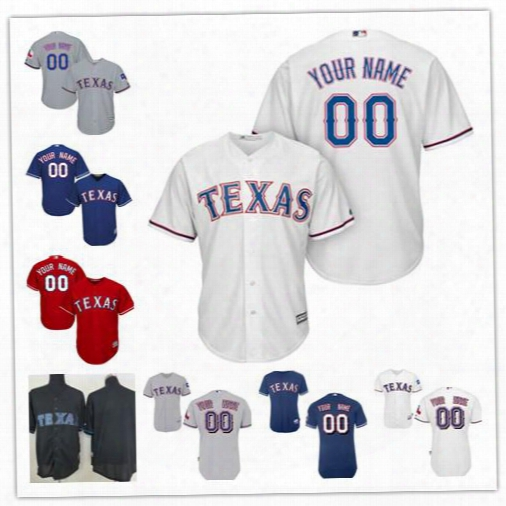 Cheap Mens Womens Youth Texas Rangers Custom Red White Gray Black Sewn On Any Name Any Number Personalized Cool Base Baseball Jerseys S-4xl