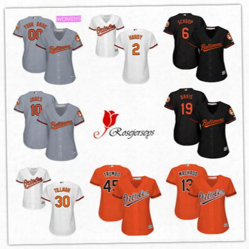 Cheap Women Baltimore Orioles Custom 25 Hyun-soo Kim Gray 23 Joey Rickard Orange 12 Seth Smith Black 6 Trey Mancini White Lady Jerseys