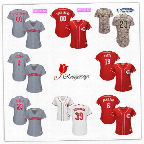 Cheap Women Cincinnati Reds Custom 39 Devin Mesoraco Camo 16 Tucker Barnhart Gray 32 Stuart Turner Red 2 Zack Cozart White Lady Jerseys