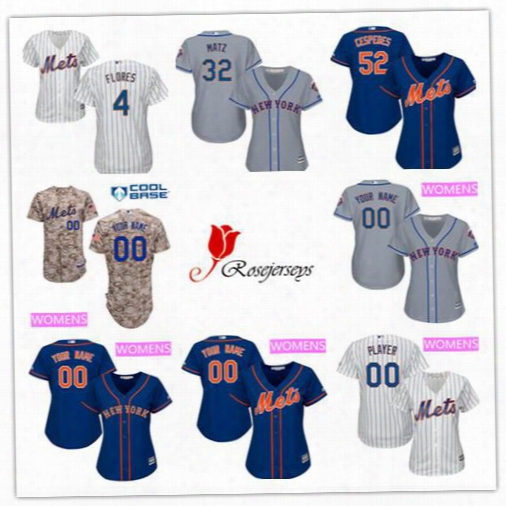 Cheap Women Custom New York Mets 3 Curtis Granderson 54 T. J. Rivera 19 Jay Bruce 4 Wilmer Flores Gray Royal Blue White Lady Baseball Jersey