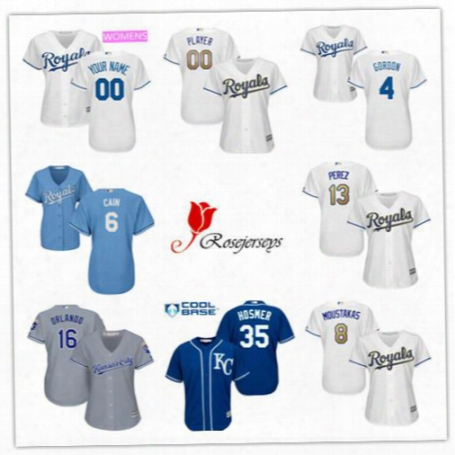 Cheap Women Kansas City Royals 2 Alcides Escobar Navy 35 Eric Hosmer Gray 27 Raul A. Mondesi White Gold 8 Mike Moustakas Light Blue Jerseys