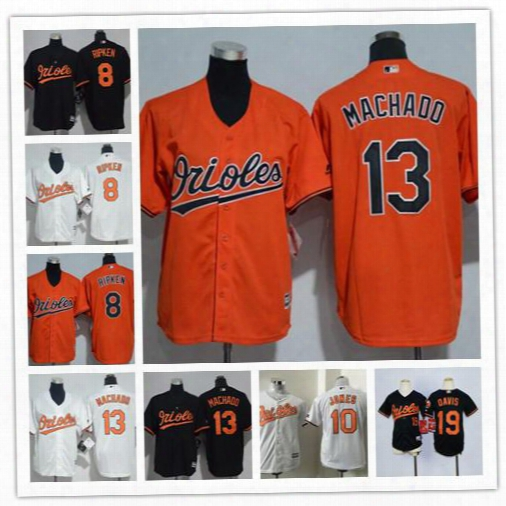 Cheap Youth Baltimore Orioles #13 Manny Machado 8 Cal Ripken Jr. 19 Chris Davis 10 Adam Jones Black Orange White Stitched Blank Jerseys