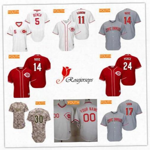 Cheap Youth Kid Cincinnati Reds Retired 30 Ken Griffey Jr 24 Tony Perez 5 Johnny Bench 18 Ted Kluszewski Camo Gray Red White Pullover Jersey