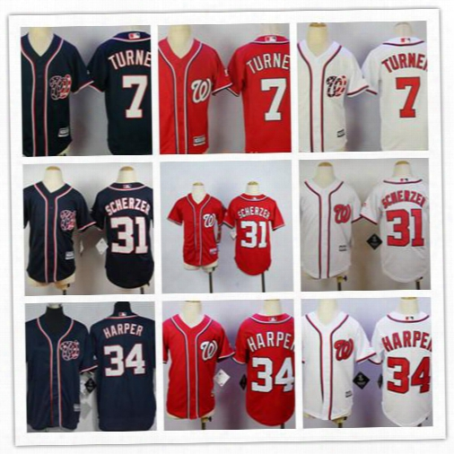Cheap Youth Navy Blue Washington Nationals 34 Bryce Harper,6 Anthony Rendon,7 Trea Turner,31 Max Scherzer Red White Stitched Blank Jerseys