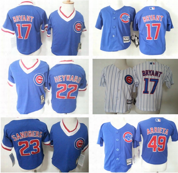 Chicago Cubs 17 Kris Bryant 22 Jason Heyward 49 Jake Arrieta Baby Infant Stitched Toddler's Throwback Baseball Jerseys Size S M L