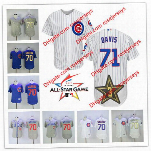 Chicago Cubs 2017 All-star Game Worn Jersey #71 Wade Davis 70 Joe Maddon White Home Gray Royal Blue Gold Champions Stitched Baseball Jerseys