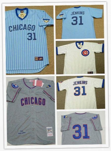 Chicago Cubs Ferguson Jenkins 1968 Gray Throwback Cooperstown Jersey 1969 Cream #31 Fferguson Jenkins Cubs Cool Base Ba Seball Jersey S--3xl