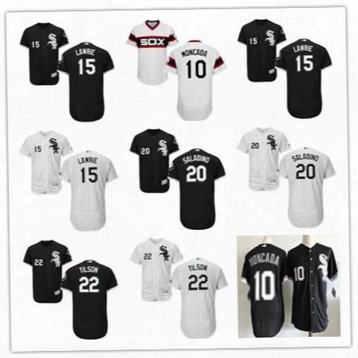 Chicago White Sox 10 Yoan Moncada Jerseys Baseball 2017 Flexbase Men's 22 Charlie Tilson 15 Brett Lawrie 20 Tyler Saladino Stitched Shirt