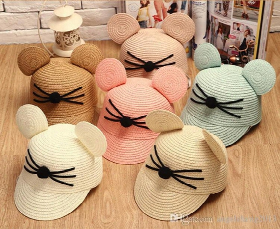 Children's Hat Cat Whiskers Mickey Ears Baseball Hat Sun Visors Caps Unisex Kids Caps Hats Assorted Colour Yeran-137