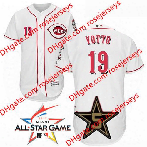 Cincinnati Reds 2017 All-star Game Worn Jersey #19 Joey Votto White Home Gray Road Red Camo Pullover Flex Cool Base Stitched Baseball Jersey