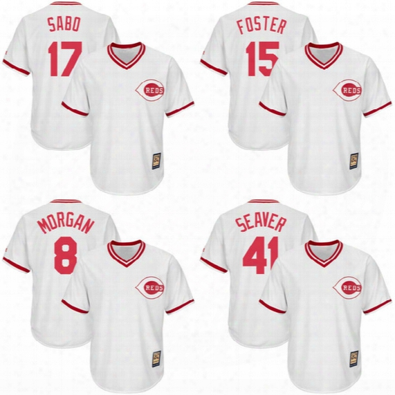 Cincinnati Reds #8 Joe Morgan #15 George Foster #41 Tom Seaver #24 Tony Perez #17 Chris Sabo Throwback Baseball Jerseys