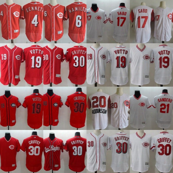 Cincinnati Reds Jersey Mens 4 Scooter Genmett 6 Billy Hamilton 17 Chris Sabo 20 Frank Robinson 19 Joey Votto 21 Deion Sanders Ken Griffey Jr