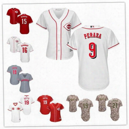 Cincinnati Reds Jersey Stitched Womens Youth White Gray 9 Jose Peraza 15 Dilson Herrera 16 Tucker Barnhart 19 Joey Votto 21 Michael Lorenzen