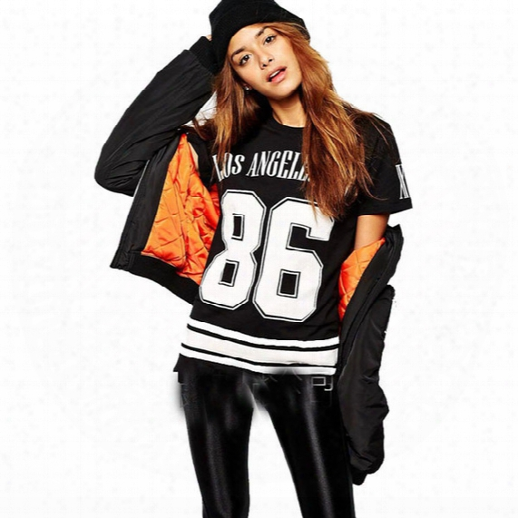 Classic Harajuku Style Tshirts Cotton Women Celebrity Oversized 86/los Angeles Letter Printing Baseball Tee Top Short Sleeve