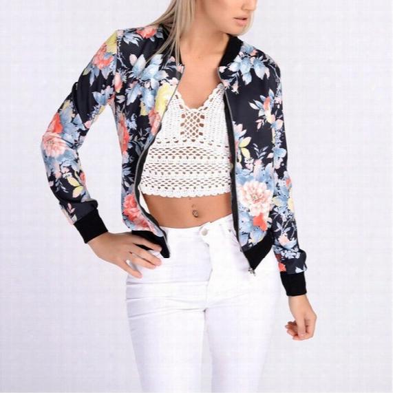 Classic Womens Short Tops Retro Floral Zipper Blazer Coat Outerwear Laides Girls Baseball Crop Celeb Bomber Jackets