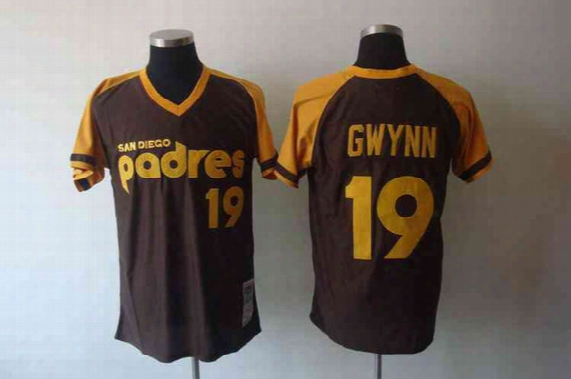 """Cooperstown Collection Throwback Baseball Jerseys San Diego """"padres"""" #19 Tony Gwynn Coffee Embroidered Cool Base Jersey Best Sports Jerseys"""