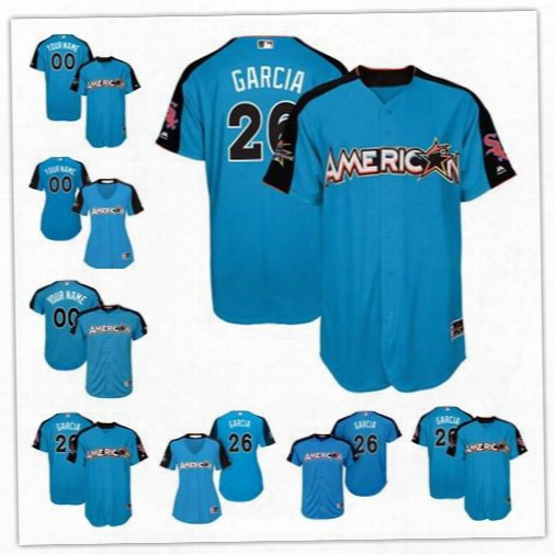 Custom 2017 All Star Chicago White Sox #26 Avisail Garcia Blue Baseball With Team Patch Jerseys S-4xl Mens Womens Youth Jose Abreu Frazier