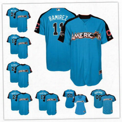 Custom 2017 All Star Cleveland Indians #11 Jose Ramirez Blue Baseball With Team Patch Jersey S-44xl Mens Womens Youth Lindor Kluber 24 Miller