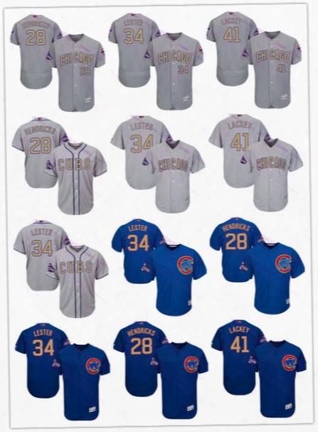 Custom 20l7 Gold Program Cool Base Felx Base 28 Kyle Hendricks 34 Jon Lester 41 John Lackey Cubs Baseball Jersey Color White Blue Grey