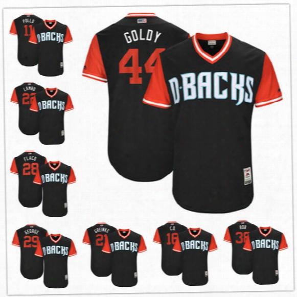 Custom Arizona Diamondbacks Nickname Jersey #44 Goldy #22 Lambo #28 Flaco #21 Greinke Bob George Navy Blue 2017 Little League World Series
