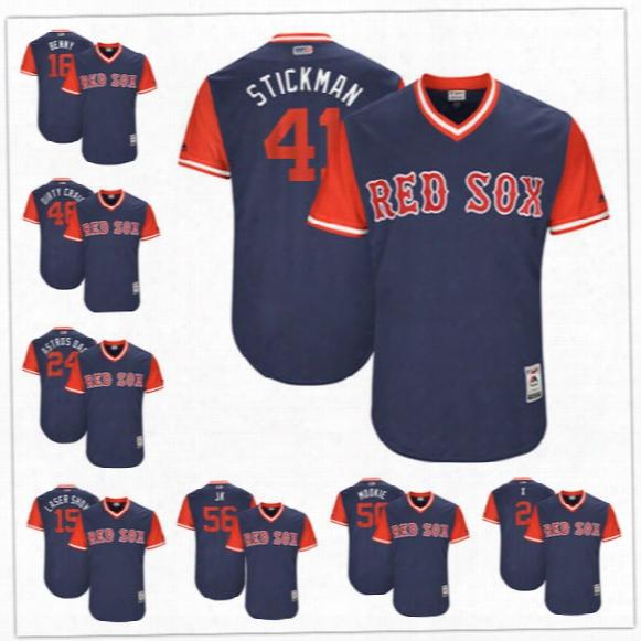 Custom Boston Red Sox Nickname Jersey #41 Stickman 15 Laser Show 16 Benny 50 Mookie Jk Navy Blue 2017 Little League World Series