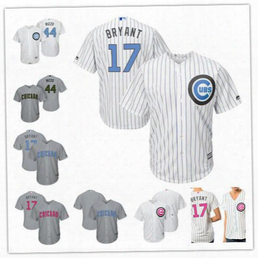 Custom Chicago Cubs 17 Bryant White Gray 2017 Father Mother Memorial Day Sewn On Any Name Number Mens Womens Youth Baseball Jerseys S-4xl