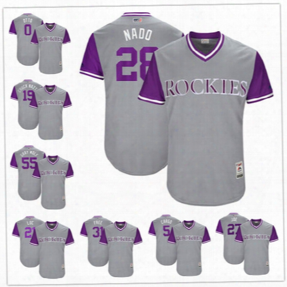 Custom Colorado Rockies Nickname Jersey #28 Nado #19 Chuck Nazt #21 Luc Free Cargo Joe #55 Wolf Gray 2017 Little League World Series