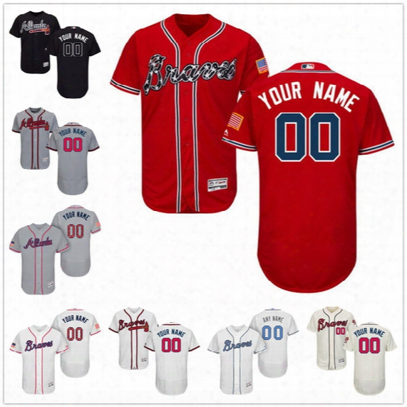 Custom Flex Bass Atlanta Braves Freeman Swanson Jones Aaron Gray White Navy Blue Cream Red Stitched Any Name Number Mens Jerseys S,4xl