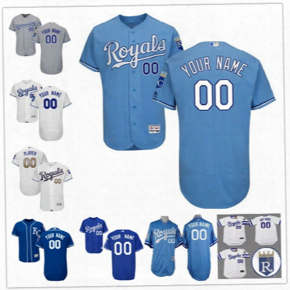 Custom Flex Base Kansas City Royals 13 Perez Cain Hosmer Moustakas Escobar Gray White Blue Gold Stitched Any Name Number Mens Jerseys S-4xl