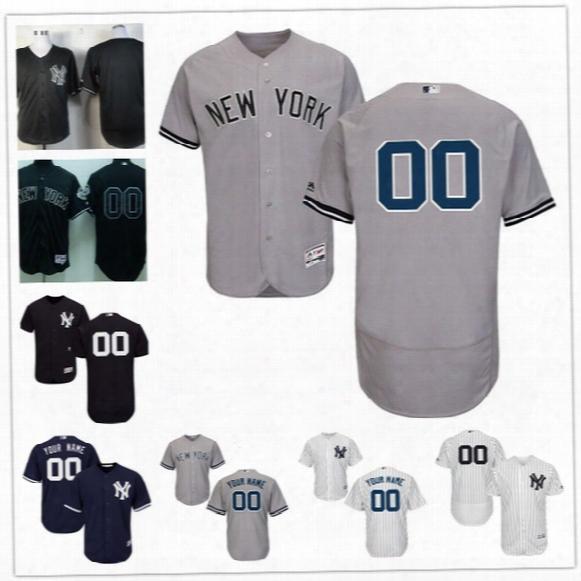 Custom Flex Base New York Yankees Jeter Sanchez Judge Rivera Chapman 55 Gray White Navy Blue Stitched Any Name Number Mens Jerseys S-4xl