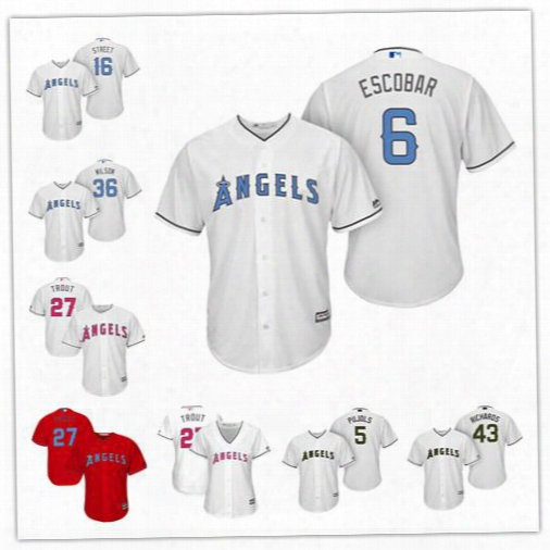 Custom Los Angeles Angels Trout White Red 2017 Father Mother Memorial Day Sewn On Any Name Number Mens Womens Youth Baseball Jerseys S-4xl