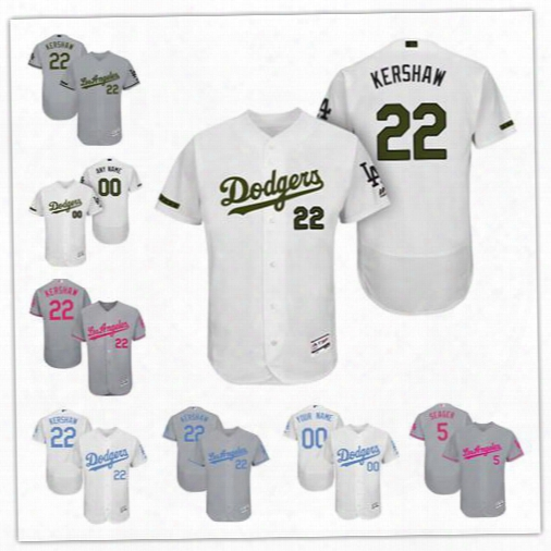 Custom Los Angeles Dodgers White Gray 2017 Father Mother Memorial Day Sewn On Any Name Number Mens Flex Base Baseball Jerseys S-4xl