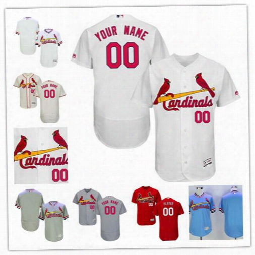 Custom Mens St. Louis Cardinals Light Blue White Plluover Gray Road Red Sewn On Personalized Flex Base Baseball Jerseys Size S-4xl