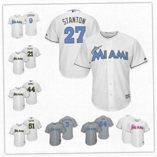 Custom Miami Marlins 27 Stanton White Gray 2017 Father Mother Memorial Day Sewn On Any Name Number Mens Women Youth Baseballl Jersey S-4xl