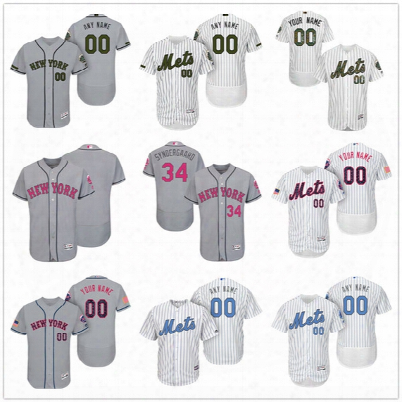 Custom New York Mets Mother Father Memorial Independence Day #30 Conforto Degrom Wright Gray White Pink Blue Stitched Men Women Kids Jerseys