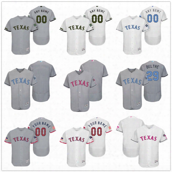 Custom Texas Rangers Mother Father Memorial Independence Day #29 Beltre Andrus Napoli Gray White Pink Blue Stitched Mens Womens Kids Jerseys