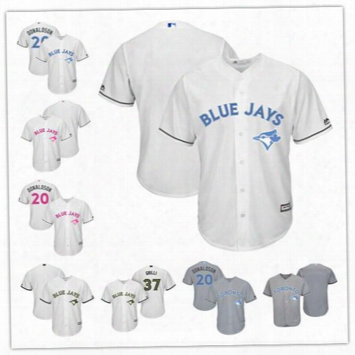 Custom Toronto Blue Jays Donaldson White Gray 2017 Father Mother Memorial Day Sewn On Any Name Number Mens Women Youth Baseball Jersey S-4xl