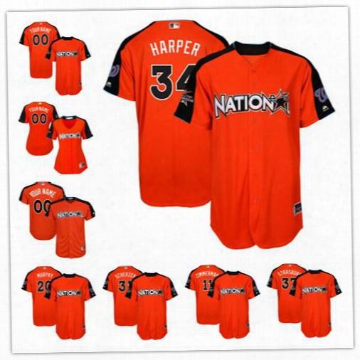 Custom Washington Nationals 2017 All Star #34 Bryce Harper Orange Baseball With Team Patch Jerseys S-4xl 20 Daniel Murphy Scherzer Strasburg