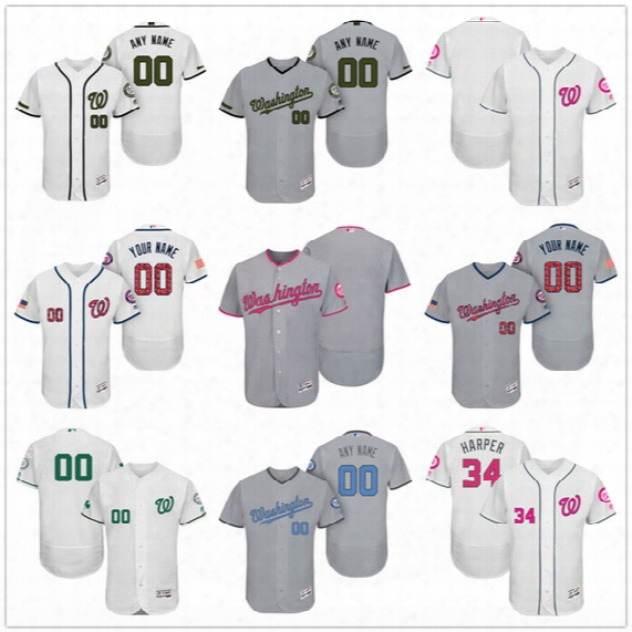 Custom Washington Nationals Mother Father Memorial Independence Day #34 Harper Murphy  Gray White Pink Blue Stitched Men Womens Kids Jerseys