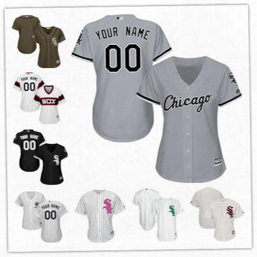 Custom Women Chicago White Sox Personalized Black White Rgay Female Lady Wholesale Customized Baseball Jerseys 100% Stitched Size S-2xl