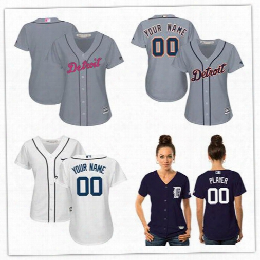 Custom Women Detroit Tigers Personalized Navy White Gray Female Lady Wholesale Customized Baseball Jerseys 100% Stitched Size S-2xl