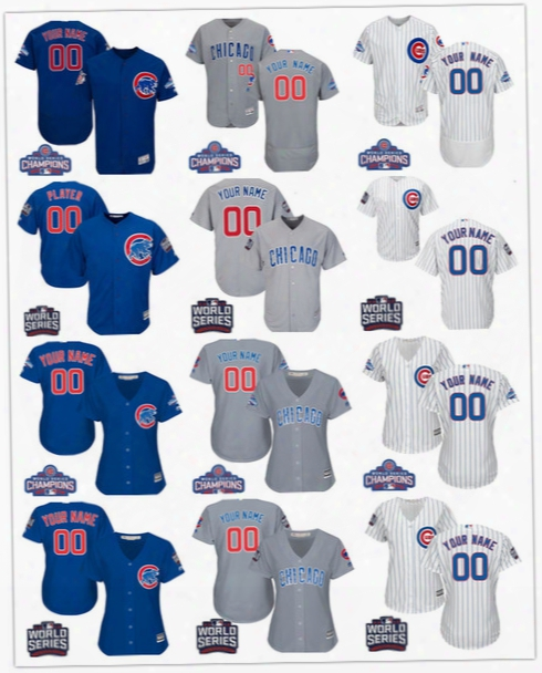 Customized Chicago Cubs Mens Womens Youth Kids 2016 World Series Champions Gray Road White Blue Stitched Your Own Name Number Jerseys S,4xl